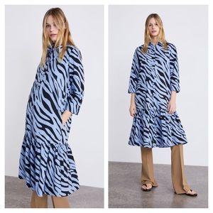 Zara Animal Print Shirt Dress Ruffle Hem Zebra S